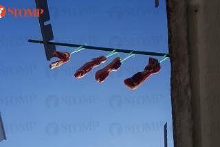 ஈசூன் ஸ்திரீட் 11ல் உள்ள புளோக் 148ல் குடியிருப்பாளர் ஒருவர் மாமிசத்தைக் காய வைத்திருப்பதை இம்மாதம் 2ஆம் தேதி மாலை 6 மணியளவில் கண்டதாக ஸ்டோம்ப் வாசகர் டேவிட் குறிப்பிட்டார். படம்: ஸ்டோம்ப்
