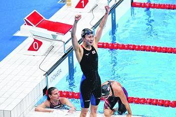 நீச்சல் போட்டிகளில் ஜப்பானுக்கு முதல் தங்கம். படம்: இபிஏ